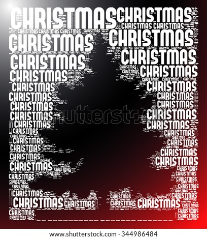 red and black gradient background with christmas words together christmas tree silhouette vector print pattern