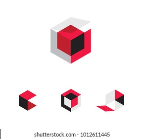 Red Black and Gray 3d boxes or cubes for vector logo or icon set. Flat shaded squares and hexagons showing folded open and closed boxes