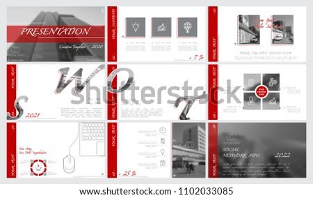best brochure designs 2020 Red Black Gray Presentation Template White Stock Vector (Royalty
