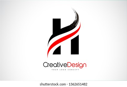 Red and Black H Letter Design Brush Paint Stroke. Letter Logo with Black Paintbrush Stroke.