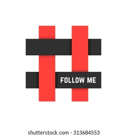 red and black hashtag icon with follow me text. concept of micro blogging, pr, popularity, blogger, grille. isolated on white background. flat style trend modern logotype design vector illustration