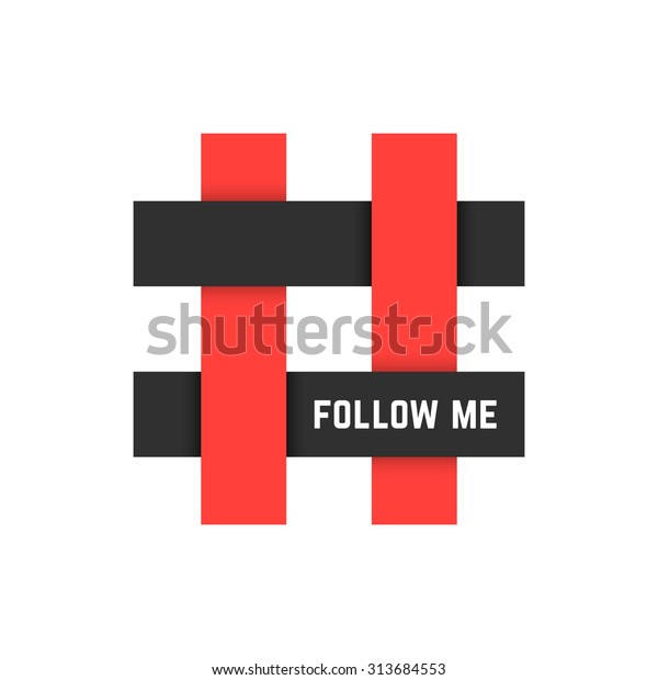 Red Black Hashtag Icon Follow Me Stock Vector (Royalty
