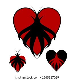 Red and black hearts gothic illustration. 3 alternative heart elements for your design. Death anniversary, mourning day, commemorate cerenomy, gothic art works, funeral or for various subjects.