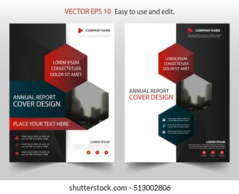 Red black hexagon abstract annual report Brochure design template vector. Business Flyers infographic magazine poster.Abstract layout template ,Book Cover presentation portfolio.