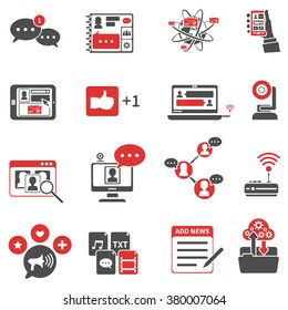 red black icons set with wireless communication symbols flat isolated vector illustration