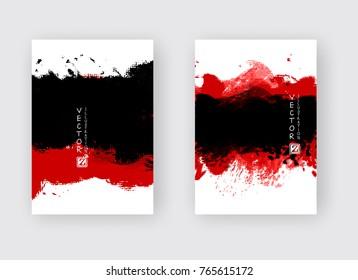 Red black ink brush stroke on white background. Japanese style. Vector illustration of grunge strip stains