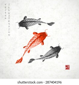 "Red and black koi carps hand drawn with ink in traditional Japanese painting style sumi-e on vintage rice paper.  Contains hieroglyph ""well-being"" (red stamp)."