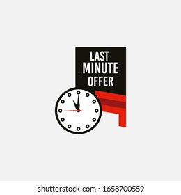 Red and black last minute offer button sign. Banner design in flat modern style. Alarm clock countdown with limited offer for promotion, price, label, store shop, online store, website, landing.