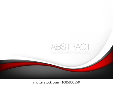 Red and black line curve vector background overlap layer on white space for background design