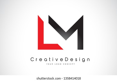 Red and Black LM L M Letter Logo Design in Black Colors. Creative Modern Letters Vector Icon Logo Illustration.