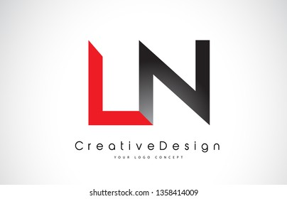 Red and Black LN L N Letter Logo Design in Black Colors. Creative Modern Letters Vector Icon Logo Illustration.