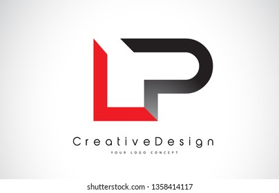 Red and Black LP L P Letter Logo Design in Black Colors. Creative Modern Letters Vector Icon Logo Illustration.