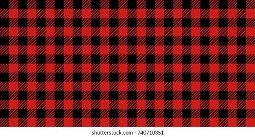 Red and Black Lumberjack Buffalo Plaid Seamless Pattern