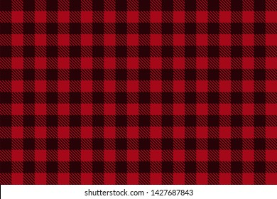 Red Black Lumberjack plaid seamless pattern. Texture for plaid, tablecloths, clothes, shirts, dresses, paper, bedding, blankets, quilts and other textile products. Vector EPS 10