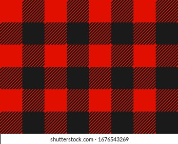 Red and Black Lumberjack plaid seamless pattern. Simple vintage textile design. Seamless vector pattern. Scottish cage. Tartan plaid seamless abstract checkered pattern background