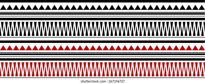 Red and Black Maori - Polynesian Bracelets Tatto Pattern