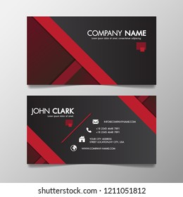 Red and black modern creative business template patterned and name card,horizontal simple clean vector design minimal icon concept, layout in rectangle size.
