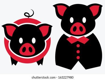 Red black pig