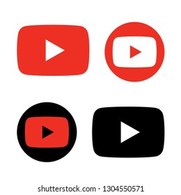 red and black play button icon vector. play video logo