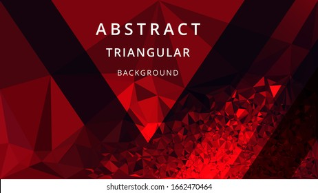 Red black polygonal mosaic triangular background. Futuristic, technology creative business design template. Cover design. Vector illustration
