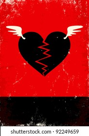 Red and black poster with broken heart