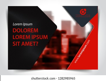 Red and Black Presentation Cover. Horizontal Marketing Template Design for Widescreen. A4 Size.
