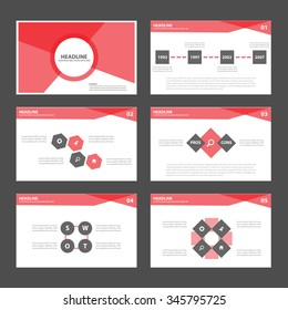 Red and Black presentation template Infographic elements flat design set for brochure flyer leaflet marketing advertising
