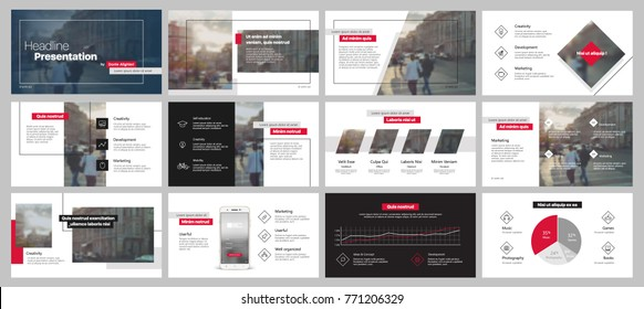 Red and black presentation templates elements on a white background. Vector infographics. Use in Presentation, flyer and leaflet, corporate report, marketing, advertising, annual report, banner.