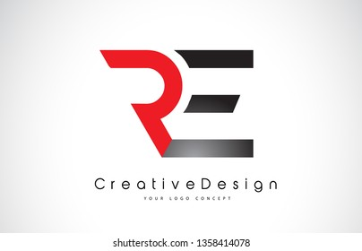 Red and Black RE R E Letter Logo Design in Black Colors. Creative Modern Letters Vector Icon Logo Illustration.