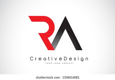 Red and Black RA R A Letter Logo Design in Black Colors. Creative Modern Letters Vector Icon Logo Illustration.