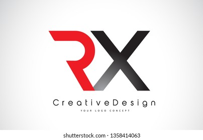 Red and Black RX R X Letter Logo Design in Black Colors. Creative Modern Letters Vector Icon Logo Illustration.