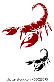 Red and black scorpion silhouette with its tail raised to sting and big front claws on white. For tattoo or logo design. Scorpion logo, danger logo, animal logo template