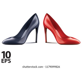 Red and black shoes on high heels, isolated on white background. Realistic vector 3d illustration
