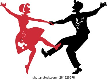 Red and black silhouettes of a couple dressed in 1950s fashion dancing rock and roll, no white objects, EPS 8