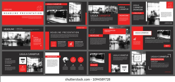 Red and black slide presentation templates background. Infographic business elements. Use for flyer, brochure, leaflet, corporate, marketing, advertising, annual report, banner modern style.