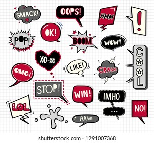 Red and black speech bubbles doodle set. Vector illustration in comic style
