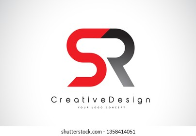 Red and Black SR S R Letter Logo Design in Black Colors. Creative Modern Letters Vector Icon Logo Illustration.