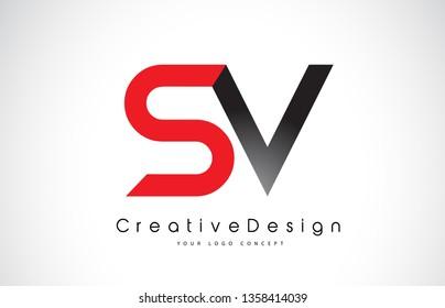 Red and Black SV S V Letter Logo Design in Black Colors. Creative Modern Letters Vector Icon Logo Illustration.
