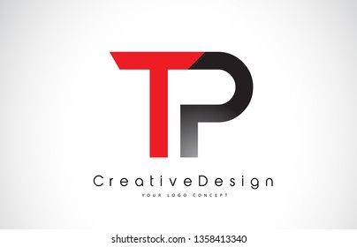 Red and Black TP T P Letter Logo Design in Black Colors. Creative Modern Letters Vector Icon Logo Illustration.