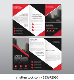 Red black triangle business trifold Leaflet Brochure Flyer report template vector minimal flat design set, abstract three fold presentation layout a4 size