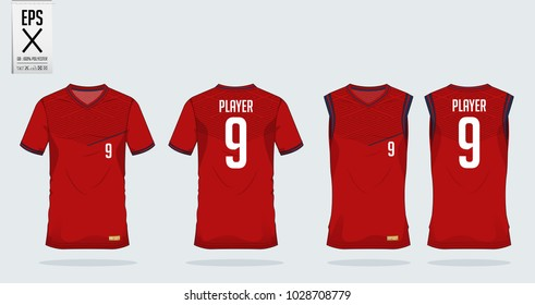 Red- black t-shirt sport design template for soccer jersey, football kit and tank top for basketball jersey. Sport uniform in front and back view. Tshirt mock up for sport club. Vector Illustration.
