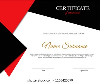Red and black vector certificate template design. modern and professional certificate design.