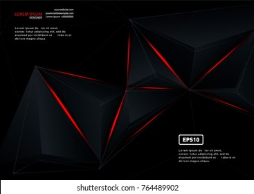 Red and black vector geometric background. Can be used in cover design, book design, website background, CD cover, advertising.