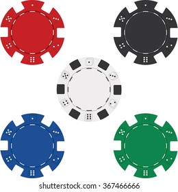 Red, black, white, blue and green poker chip isolated on white background