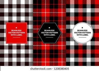 Red Black White Buffalo Check and Tartan Plaid Seamless Patterns with Label Frames. Copy Space for Text. Set of Design Templates for Packaging, Covers or Gift Wrapping.