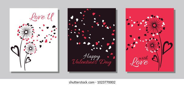 Red black white dandelion flowers valentine template for cards, vector layouts set. With Love, Happy Valentine's Day text on card layouts. Heart shaped flying petals, love symbols, dandelion blowing.