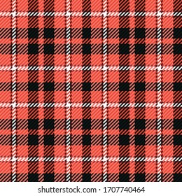 Red, black and white gingham cloth background with fabric texture. Lumberjack flannel shirt textures. Seamless tartan tiles. Suits for covers, packaging and gift wrap. No gradient. No transparent.