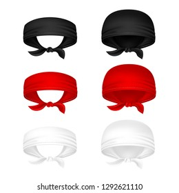 Red, black and white head bandanas vector illustration