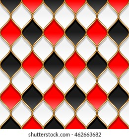 Red, black and white rhombuses with golden partitions. Abstract seamless pattern for design and textile
