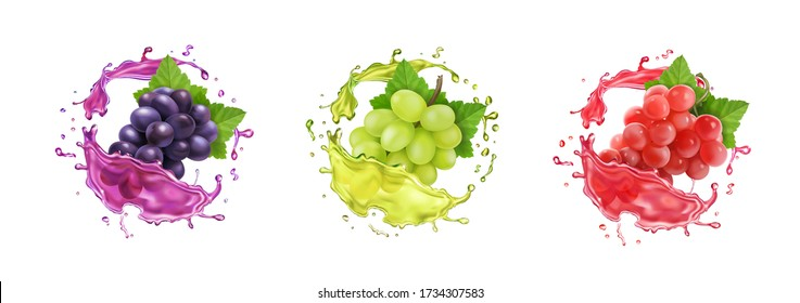 Red, black and white wine grapes in juice splash. Table rose grape banches in splashing wine. Realistic fresh fruit vector icon set.